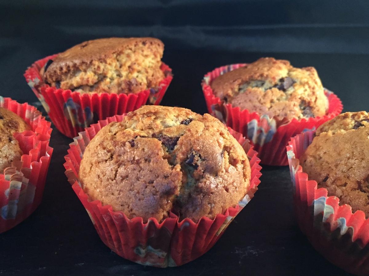 Muffins à la purée de noisettes et aux pépites de chocolat